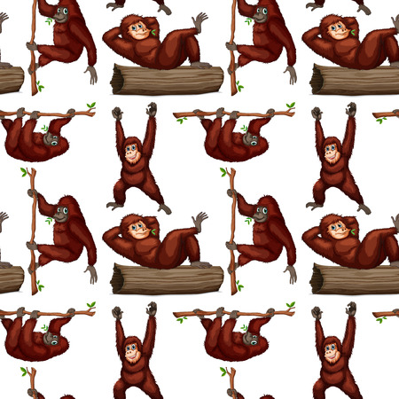 illustration of a seamless orangutans Vector