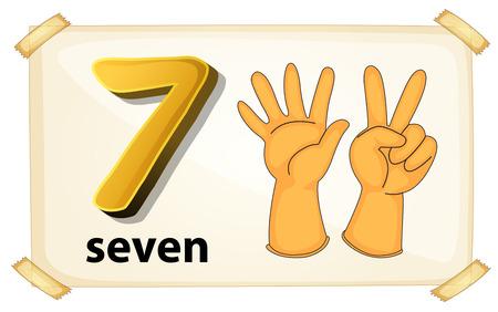 illustration of a flashcard number seven