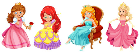 illustration of a set of princess and queens Vector