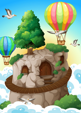 illustration of balloons flying above a cave Vector