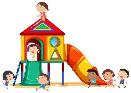 kind spielen: Kinder spielen auf dem Spielplatz