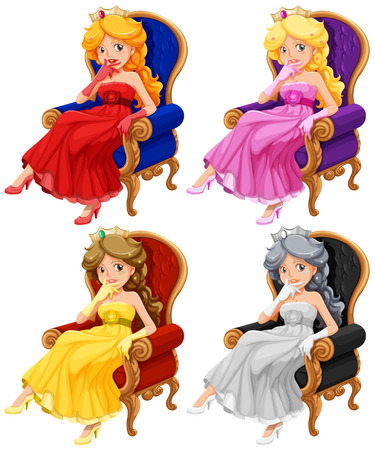 evening dresses: Pricess in chair set on white Illustration