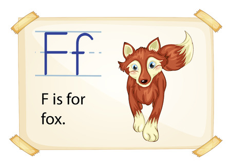 sentence: Literacy card showing the letter F with example object and sentence Illustration
