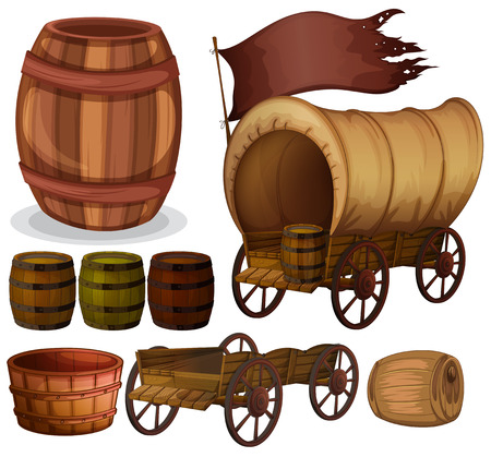 Western theme with wagons and barrels