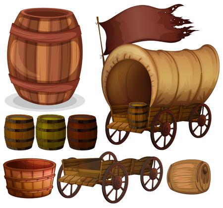 Western-thema met wagons en vaten