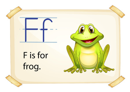literacy card showing the letter f with example object and sentence vector