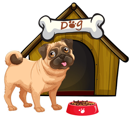 Dog in front of his home with a bowl of food Illustration
