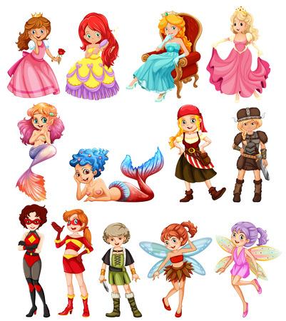cartoon hadas: Una colecci�n de diversas hero�nas femeninas