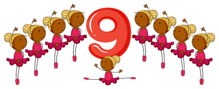numeracy: Ballerinas around the number 9