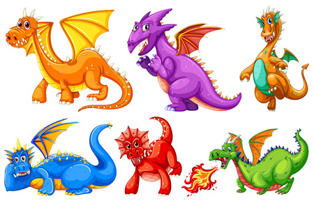 dragon fire: Dragons set on a white background