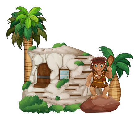 Caveman scene with house and plants Vector