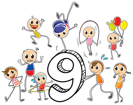 Number nine with children on white Vector