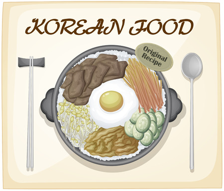 rice and beans: Korean food poster with text Illustration