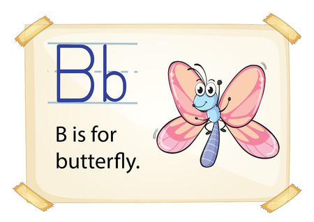 literate: Literacy card showing the letter B with example object and sentence Illustration