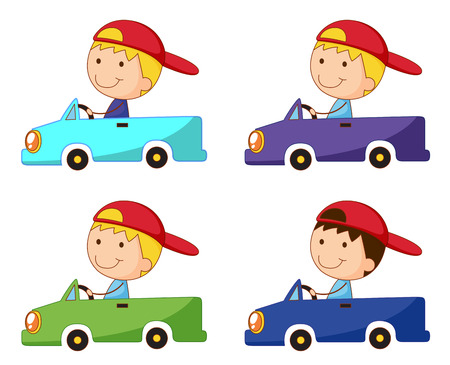 Set of kids in box cars Vector