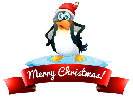 Merry Christmas with penguin label on white Vector