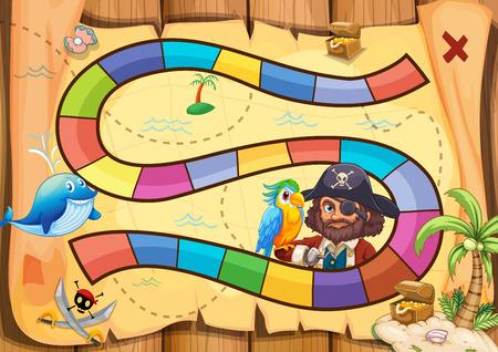 vzdělávací: Pirátská desková hra téma s papouškem Ilustrace