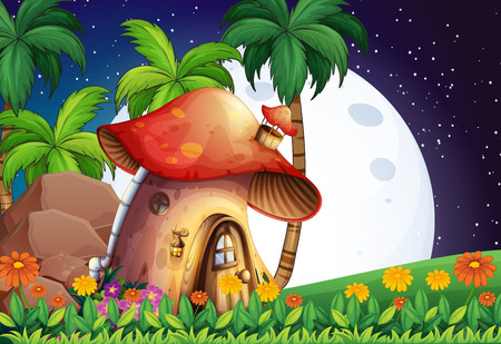 Mushroom house scene at night Vector