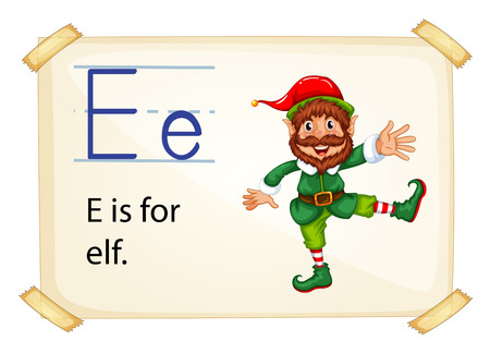 sentence: Literacy card showing the letter E with example object and sentence Illustration