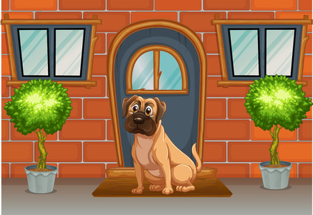 cartoon window: Dog waiting for his owner