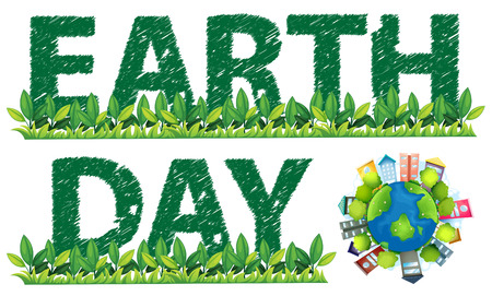 Earth Day text and logo on white Vector