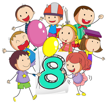 numbers background: Number eight with children on white