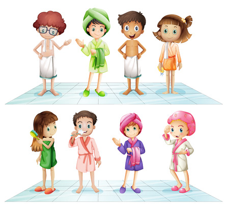 cartoon bathing: Kids in the bathroom on white