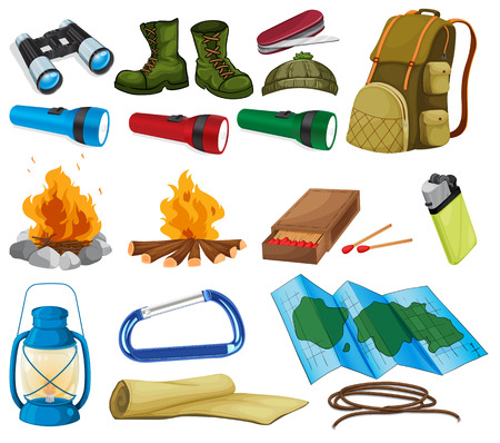 hiking boots: Camping objects and equipment on white