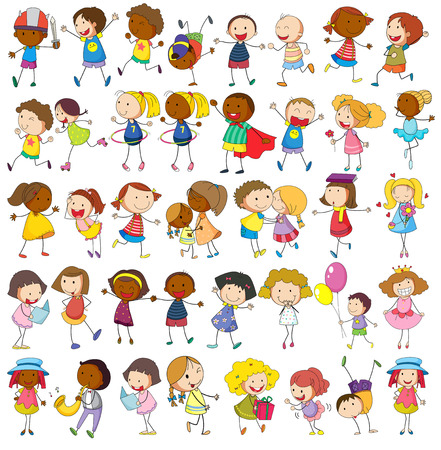 enfants heureux: Enfants jouant diverses activit�s sur blanc