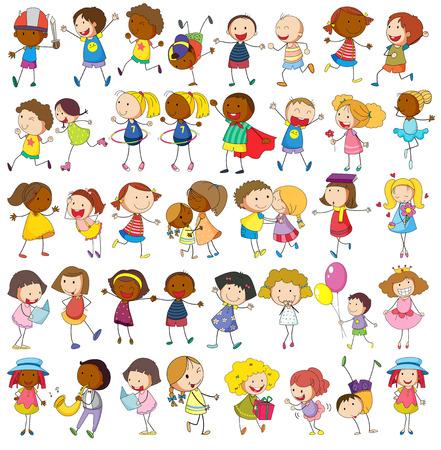 niños jugando caricatura: Los niños que juegan diversas actividades en blanco