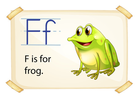 flashes: Literacy card showing the letter F with example object and sentence Illustration