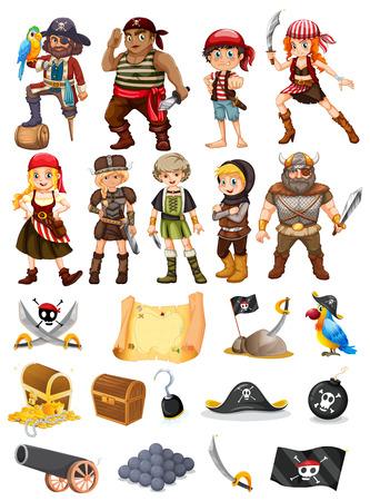 mapa del tesoro: Una colección de todas las cosas y pirata vikingo