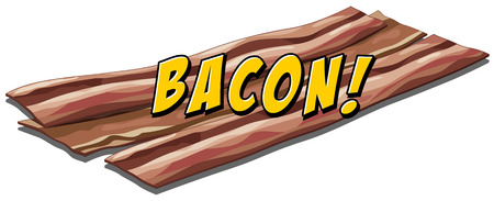 bacon art: Bacon flavour icon with text Illustration