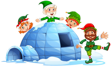 Christmas elves and an igloo Vector