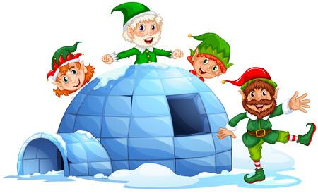 gnomos: Elfos de Navidad y un iglú Vectores