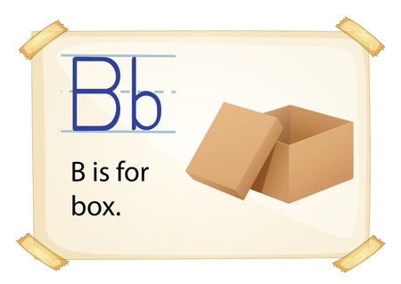 sentence: Literacy card showing the letter B with example object and sentence Illustration
