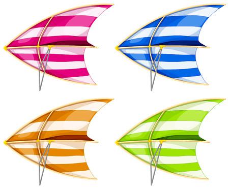 Set of 4 colorful hang gliders