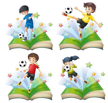 Kids playing soccer in books Vector