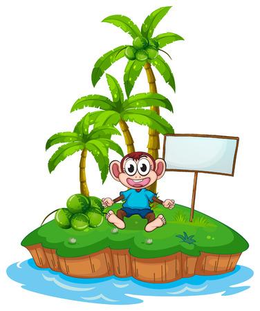 Monkey on an island on white Vector