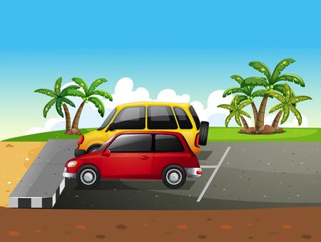 carro caricatura: Dos coches aparcados en un estacionamiento Vectores