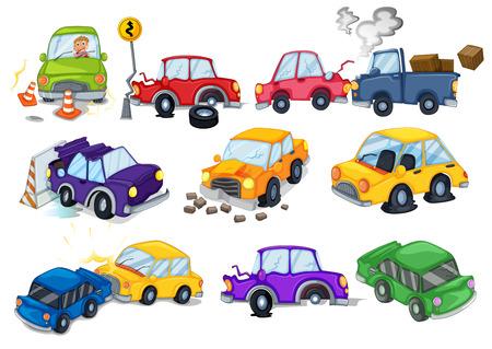 accident car: Car accidents set on white Illustration