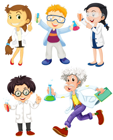 smart girl: Scientists and doctors on white Illustration