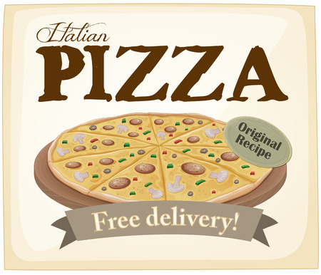 fast delivery: Italian pizza poster with text