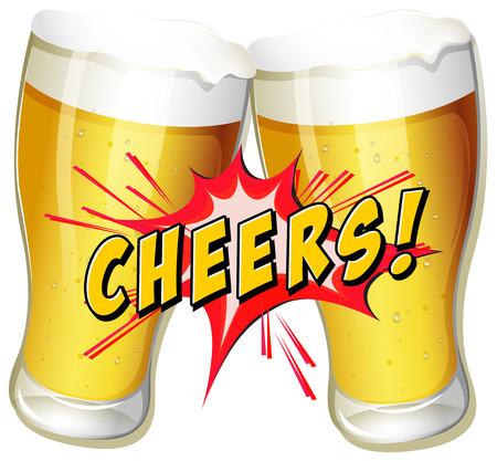 歓声とビールのカップル