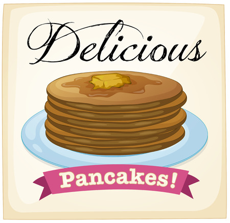 maple syrup: Pancake retro poster with text