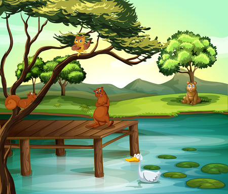 children pond: Animals hanging out by the pond Illustration