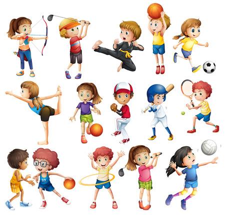 bambini che giocano: Bambini che giocano vari sport su bianco Vettoriali