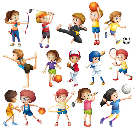 Kids playing various sports on white Ilustração