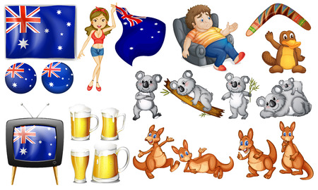slob: Australian theme set with flags and animals