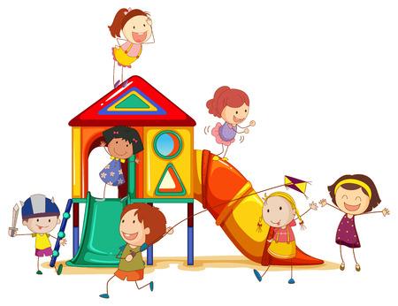 슬라이드가있는 장비에서 놀고있는 어린 소녀